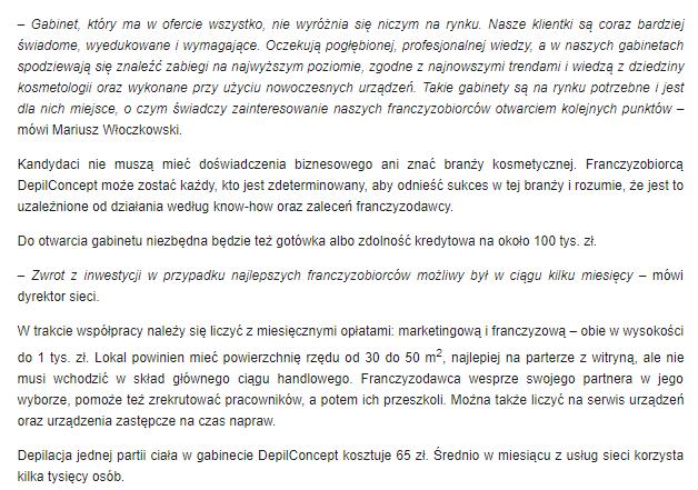 artykuł franchising o depilconcept polska